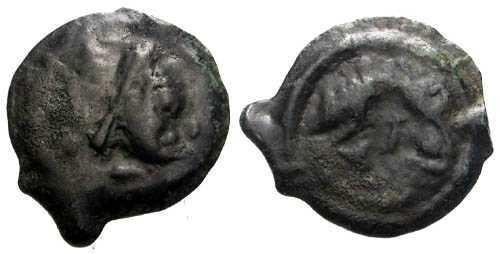 Ancient Coins - VF/VF Lingones Tribe Potin / Janiform bust