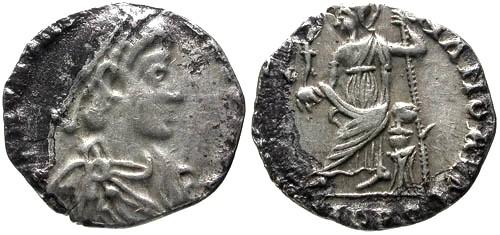 Ancient Coins - aVF/aVF Honorius Clipped AR Siliqua / Roma