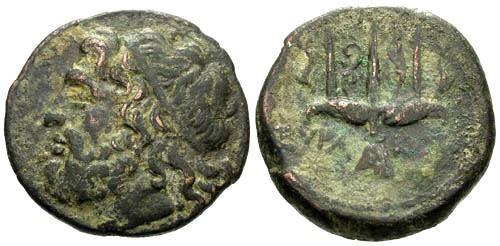 Ancient Coins - VF/VF Hieron II Syracuse Sicily AE19 / Trident
