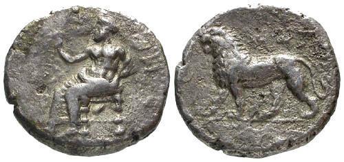 Ancient Coins - F/F Babylonian Tetradrachm of Mazaios / Lion