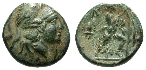 Ancient Coins - VF/VF Macedon Antigonas Gonatas AE17 / Athena / Pan erecting trophy