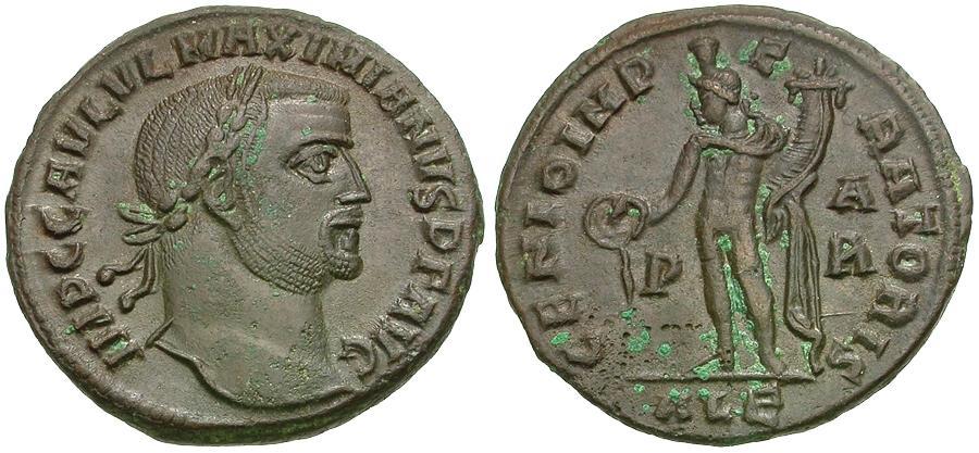 Ancient Coins - Galerius, as Augustus(AD 305-310) Æ Follis / Legend Error