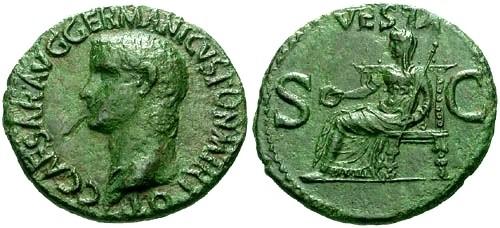 Ancient Coins - VF/VF Caligula AS / Vesta