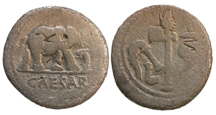 Ancient Coins - Julius Caesar AR Denarius / Elephant