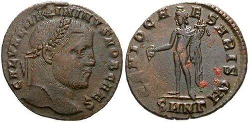 Ancient Coins - VF+ Galerius Follis / Genius