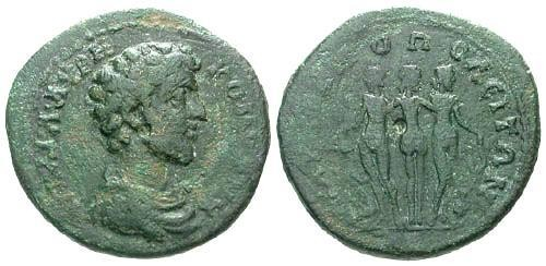 Ancient Coins - gF/VG Commodus AE25 Marcianopolis / Three Graces