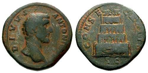 Ancient Coins - aVF/aVF Antoninus Pius Sestertius / Divvs with Funeral Pyre