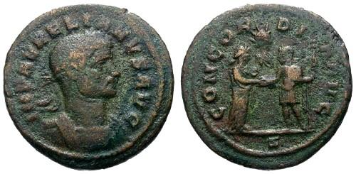 Ancient Coins - gF+/gF+ Aurelian AE As / Concordia