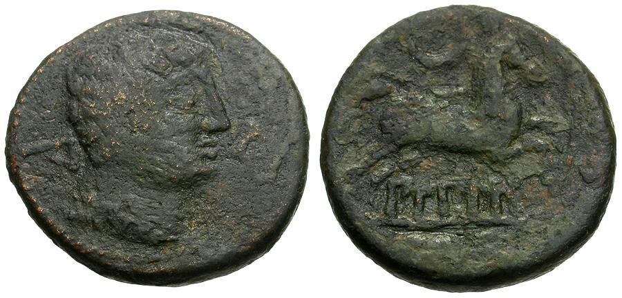 Ancient Coins - Spain.  Bilbilis Æ21 / Horse