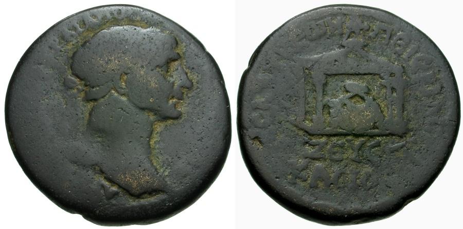 Ancient Coins - Trajan.  Syria.  Seleucia and Pieria Æ25 / Sacred Stone in Temple