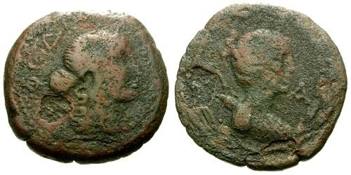 Ancient Coins - gF/gF Peloponnesus Lakonia (Sparta) AE22 / Apollo and Artemis RRR