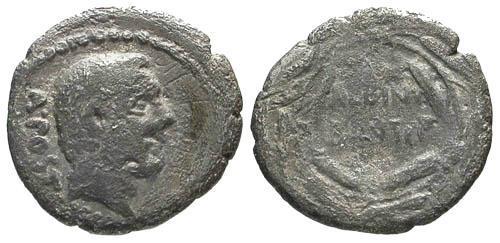 Ancient Coins - F/F 48 BC Postumia 13 Republic Denarius / ALBINVS BRUTI in wreath