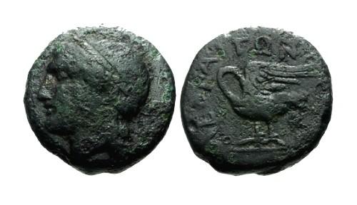 Ancient Coins - aVF/aVF Ionia Leukai AE16 / Apollo / Swan