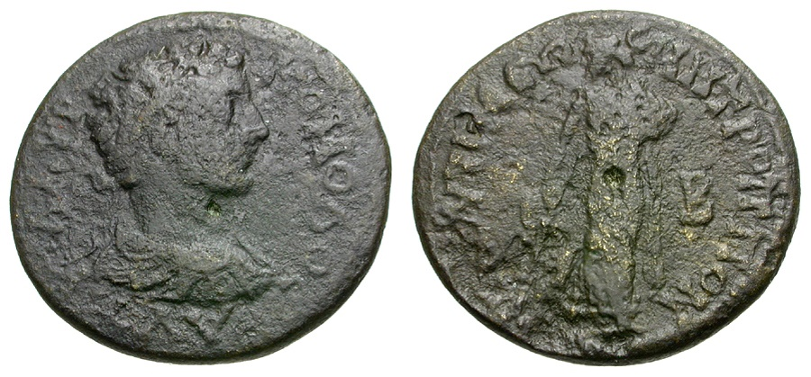 Ancient Coins - Commodus. Moesia. Tomis Æ22 / Asklepios