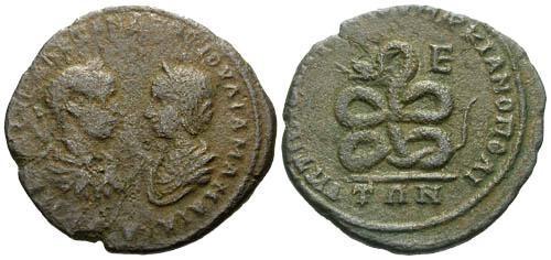 Ancient Coins - gF/aVF Severus Alexander and Julia Maesa AE 27 Marcianopolis