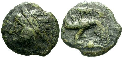 Ancient Coins - VF/VF Leuci Tribe Potin / Class la Wildman and Boar