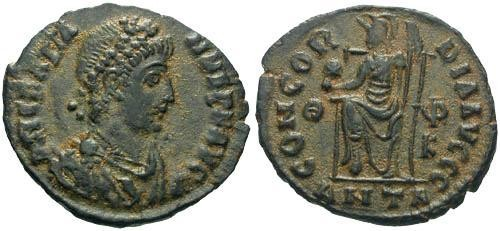 Ancient Coins - VF/VF Gratian AE3 / Roma Seated