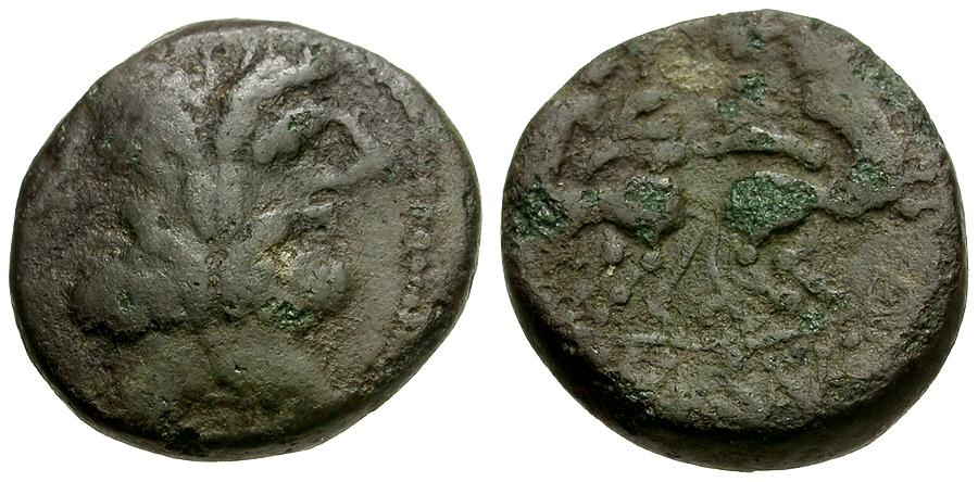 Ancient Coins - Macedonia.  Thessalonika Æ17 / Two Centaurs