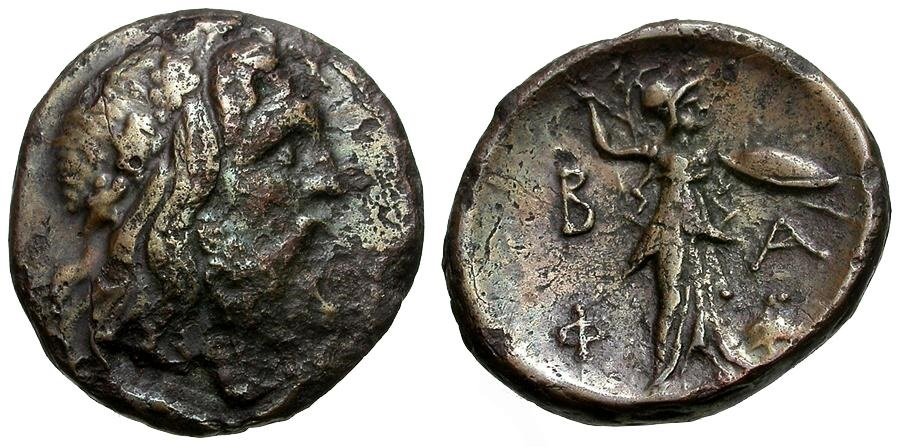 Ancient Coins - Kings of Macedon.  Philip V Æ18 / Zeus and Athena