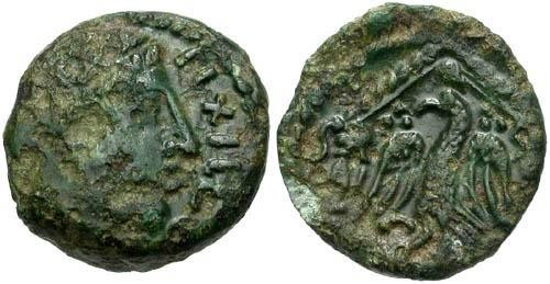 Ancient Coins - aVF/aVF Carnutes Tribe AE16 / PIXTILOS / Eagle in Temple