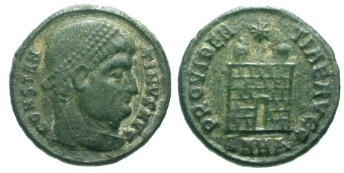 Ancient Coins - VF/VF Constantine I the Great AE3 / Camp gate