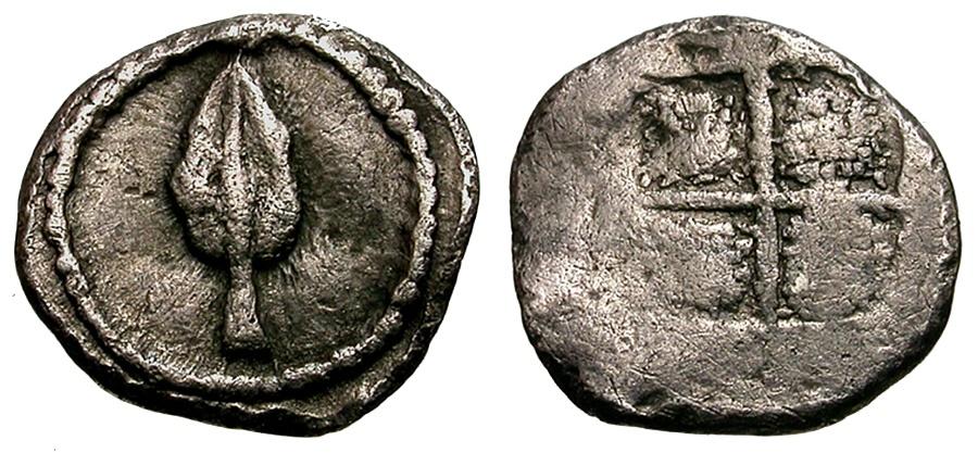 Ancient Coins - Thraco-Macedonian. Uncertain mint AR Hemiobol / Spear Head