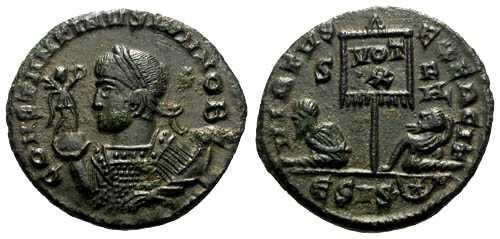 Ancient Coins - aEF Constantine II AE3 / Two Captives