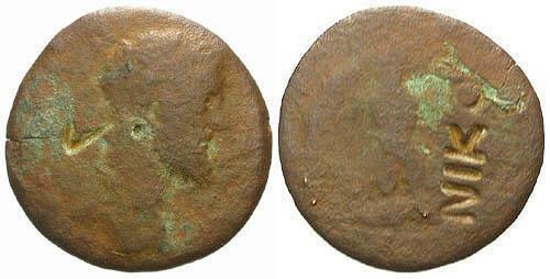 Ancient Coins - F/F Commodus AE Nicopolis / NIK Counterstamp