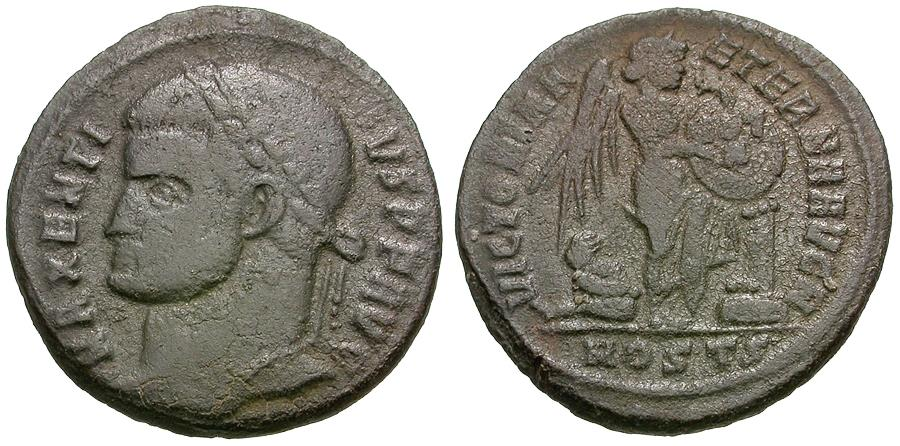 Ancient Coins - Maxentius (AD 307-312) Æ Half Follis / Victory