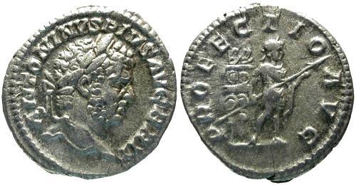 Ancient Coins - VF/aVF Caracalla Denarius / Caracalla Standing Right