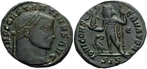 Ancient Coins - VF+ Constantine I follis, Jupiter stnd. Lt. holding Victory and scepter,eagle at ft