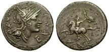 Ancient Coins - 116-115 BC - Roman Republic. M. Sergius Silus AR Denarius / Horseman with Severed Head