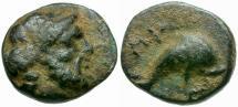 Ancient Coins - Caria. Nysiros Æ11 / Dolphin
