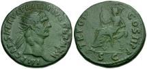Ancient Coins - Trajan Æ Dupondius / Abundantia