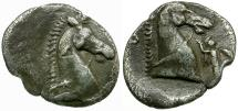 Ancient Coins - Calabria. Taras AR Obol / Horse Head