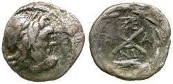 Ancient Coins - Achaean League. Elis AR Hemidrachm / Zeus