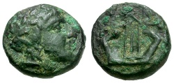 Ancient Coins - Macedon.  Chalkidian League Æ12 / Apollo and Lyre