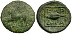 Ancient Coins - Thrace. Kardia Æ14 / Lion and Barleycorn