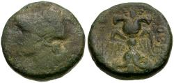 Ancient Coins - Bruttium. Lokri Epizephyrii Æ16 / Thunderbolt