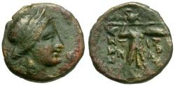 Ancient Coins - Thessaly.  Thessalian League 1/3 Unit Æ15 / Apollo / Athena