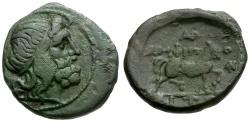 Ancient Coins - Macedon.  Amphipolis Æ18 / Poseidon and Horse