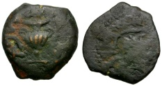 Ancient Coins - Judaea.  Jewish War. First Revolt. Year Two Æ Prutah / Amphora and Vine Leaf