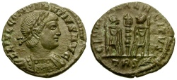 Ancient Coins - Constantius II as Augustus Æ4 / Soldiers and Standard
