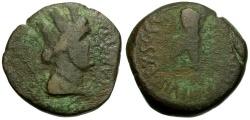 Ancient Coins - Spain.  Carteia. Roman Rule. M. Falcidius Æ18 / Club and Rudder