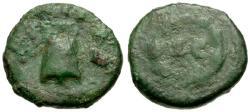 Ancient Coins - F/F Titus Æ Quadrans / Modius / Wreath