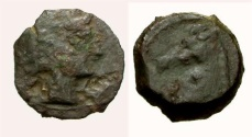 Ancient Coins - F/VF Spain Carthago Nova Æ 1/4 Calco / Tanit / Horse