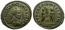 Ancient Coins - Diocletian Æ Post Reform Radiate / Diocletian and Jupiter