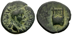 Ancient Coins - Domitia Augusta. Wife of Domitian. Lydia. Thyateira Æ16 / Lyre
