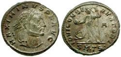 Ancient Coins - EF/EF Maximinus as Augustus Silvered Follis / Jupiter