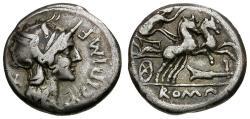 Ancient Coins - 115-114 BC - Roman Republic. M. Cipius M.f. AR Denarius / Victory in Biga